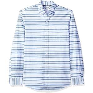Amazon Essentials Men's Slim-Fit Long-Sleeve Stripe Pocket Oxford Shirt from $5