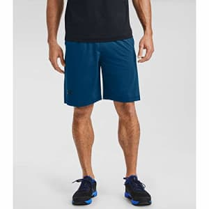 Under Armour Men's Raid 10-inch Workout Gym Shorts, Graphite Blue (581)/Black, Small for $30