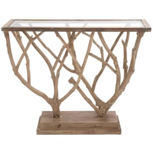 """Litton Lane 45"""" Glass-Top Console Table w/ Natural Branch Sculpture Base for $440"""