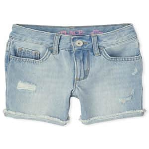 The Children's Place Girls' Midi Denim Shorts, LT 90S BLU WSH, 6 for $18