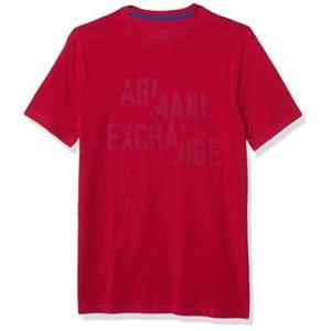 A|X Armani Exchange Men's Crew Neck Short Sleeve Scattered Logo T-Shirt, Cerise, XX-Large for $38