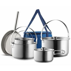 Wealers Camping Cookware Set 304 Stainless Steel 8-Piece Pots & Pans Open Fire Cooking Kit   Frying Pan for $121