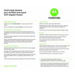 Motorola MG7700 24x8 Cable Modem Plus AC1900 Dual Band WiFi Gigabit Router with Power Boost, 1000 for $170