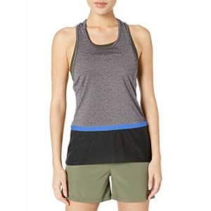 SHAPE activewear Women's Shadow Tank Top, Nine Iron/Caviar Black, M for $14