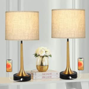 """Wihtu 22"""" Touch Table Lamps 2-Pc. Set w/ USB Ports for $48"""