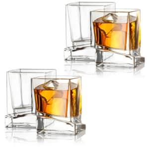 JoyJolt Carre Square 10-oz. Whiskey Glass 4-Pack for $37