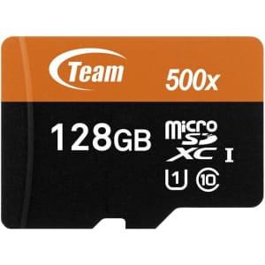 Team Group 128GB microSDXC UHS-I/U1 Class 10 Memory Card for $21