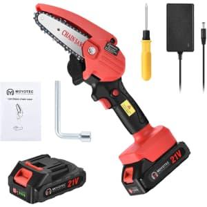 "Moyotec 21V 4"" Mini Chainsaw for $29"