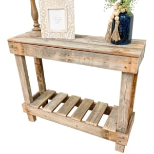 """Del Hutson Designs Barnwood 38"""" Reclaimed Wood Sofa Console Table for $60"""