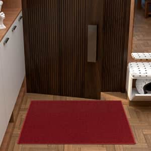 """Ottomanson Ottohome Collection Solid Design Runner Rug, 2'3"""" X 3', Red Solid for $21"""