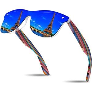 Kithdia Polarized Wooden Temple Sunglasses for $12