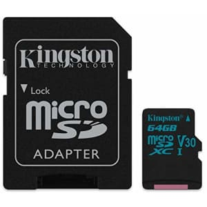 Kingston 64GB SDXC Micro Canvas Go! Memory Card and Adapter Works with GoPro Hero 7 Black, Silver, for $19