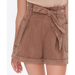 Forever 21 Women's Cuffed Patch-Pocket Paperbag Shorts for $9