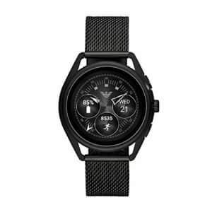 Emporio Armani Men's Smartwatch 2 Touchscreen Stainless Steel Mesh Smartwatch, Black-ART5019 for $325