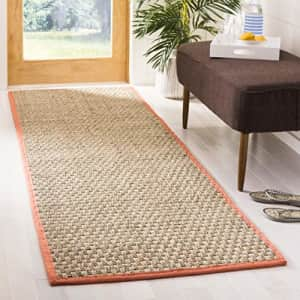 Safavieh Natural Fiber Collection NF114Y Border Basketweave Seagrass Accent Rug, 2' x 3', Rust for $20