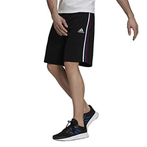 adidas Men's Standard Essentials Fleece 3-Stripes Shorts, Black/White/Team Royal Blue/Scarlet, Large for $41