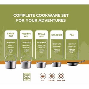 Wealers Camping Cookware Set 304 Stainless Steel 8-Piece Pots & Pans Open Fire Cooking Kit   Nonstick for $121