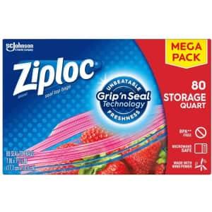Ziploc 80-Count Quart Storage Bags for $7.61 via Sub & Save