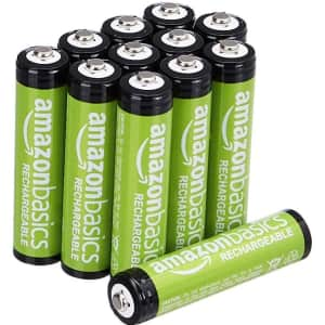 AmazonBasics AAA Rechargeable Batteries 12-Pack for $15