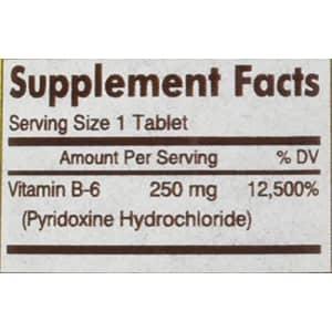 Mason Vitamins B 6 250 mg Tablets, 60 Count for $9