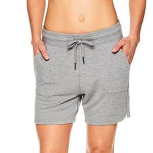 Gaiam Women's Warrior Yoga Short - Bike & Running Activewear Shorts w/Pockets - Flint Grey Heather for $28