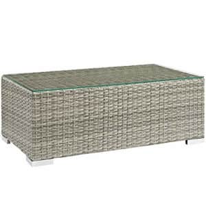 Modway EEI-2691 Repose Wicker Rattan Glass Outdoor Patio Coffee Table in Light Gray for $161
