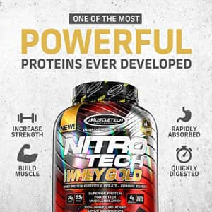 MuscleTech Nitro-Tech Whey Gold Protein Powder, Whey Isolate and Peptides, 24 Grams Protein, 5.5 for $30