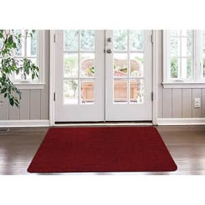 Ottomanson LIFE SAVER Collection Non-slip Indoor/Outdoor Solid Ribbed Design Area Rug, 3'X5', Red for $52