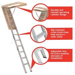 "Louisville Ladder 54"" Elite Aluminum Attic Ladder for $441"