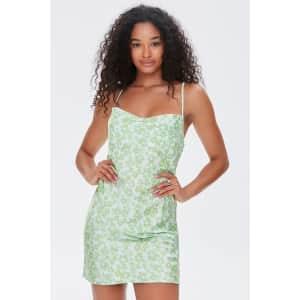 Forever 21 Women's Floral Print Satin Dress for $10