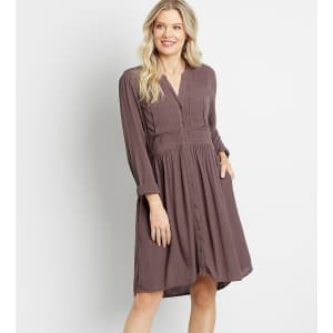 Maurices Women's Solid Button-Down Shirt Dress for $15