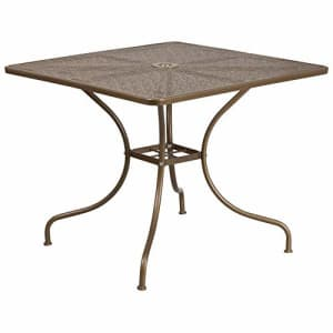 """Flash Furniture Commercial Grade 35.5"""" Square Gold Indoor-Outdoor Steel Patio Table for $93"""