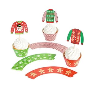 Fun Express - Ugly Sweater Cupcake Collars W/Picks for Christmas - Party Supplies - Serveware & for $31