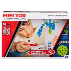 Erector by Meccano Geared Machines S.T.E.A.M. Building Kit with Moving Parts for $10