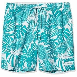 Calvin Klein Men's 7 Inch Elastic Waist Quick Dry Swim Trunk, Caribbean, Large for $46