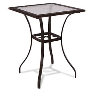 TANGKULA Patio Table Outdoor Garden Balcony Poolside Lawn Glass Top Steel Frame All Weather Dining for $130