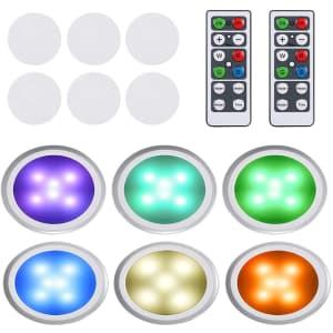 Neoglint LED Puck Light 6-Pack for $14