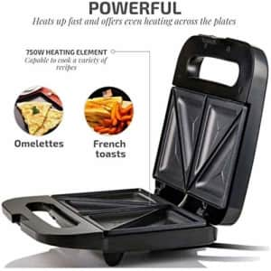 Ovente Electric Indoor Sandwich Grill Maker with Non-Stick Cast Iron Grilling Plates, 750W for $25