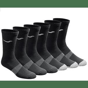 Saucony Men's Mesh Ventilating Performance Crew Socks 6-Pack for $10