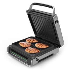 George Foreman Smart Select Digital Stainless Steel Family Size Smokeless Grill for $57