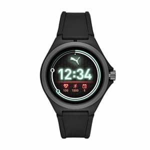 PUMA Sport 44mm Heart Rate Smartwatch - Black Silicone Band Lightweight Touchscreen for $177