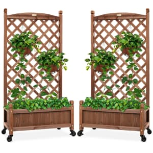 Best Choice Products Wheeled Wood Planter Box w/ Lattice Trellis 2-Pack for $140