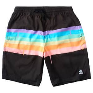 NEFF Men's Daily Hot Tub Board Shorts for Swimming, Black/Rainbow, Small for $29