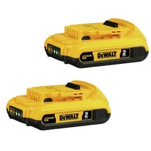 DeWalt 20V MAX 2 Ah Li-Ion Compact Battery 2-Pack for $112 in cart