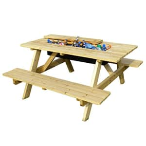 Merry Garden Cooler Wooden Picnic Table and Bench Kit Outdoor Patio Dining Table, Natural for $403