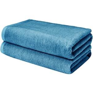 Amazon Basics Quick-Dry, Luxurious, Soft, 100% Cotton Towels, Lake Blue - Set of 2 Bath Sheets for $26