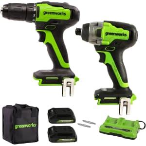 Greenworks 24V Brushless Power Tools Combo Kit w/ 2 Batteries for $220