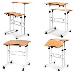 Forclover Height-Adjustable Rolling Computer Desk for $132
