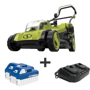 "Sun Joe 48V iON+ Cordless 17"" Lawn Mower Kit for $180"