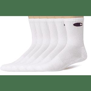 Champion Men's Double Dry Logo Crew Socks 6-Pair Pack for $9